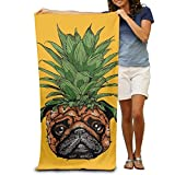 Shower Curtain pillow Pineapple Pug Halloween Adult Super Absorbent Beach Towel Towel In Beach
