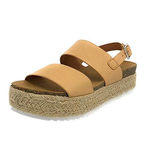 Sandalias Mujer Verano 2019 Plataforma Cuña PAOLIAN Sandalias Esparto Playa Tacon Altas Casual Fiesta Zapatos Alpargatas Vestir Elegantes Serpiente Tallas ...