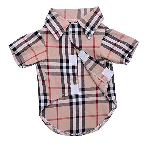 SOUTHMIA Small Dog Shirt - Clothing Cat Cotton Lapel Costume Polo Apparel Plaid Puppy Fitout for Pet Small