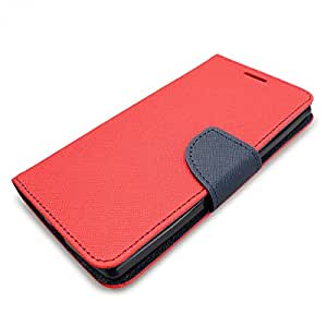 SLEO Samsung Galaxy J5 Case - Samsung Galaxy J5 Saffiano Synthetic Leather Wallet Case, SLEO Slim Flip Folio Protective Magnetic Cover Case for Samsung Galaxy J5 (2015) - Red, [Importado de UK]