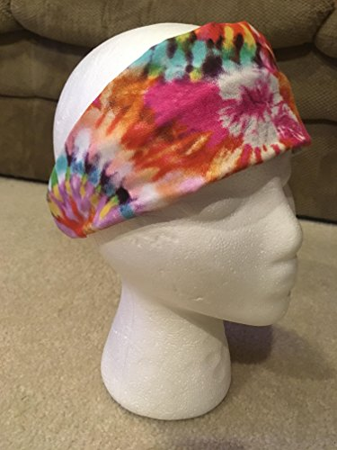 (Summer Time Tie Dye Headband, Colorful Reversible 2-in-1 Cotton Sweatband for Indoor/Outdoor Fun, Ideal for Yoga, Music Festivals, Beach Vacations; One Size Fits Most (Handmade in)