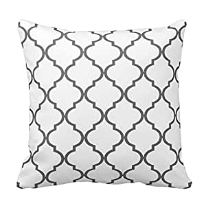 Gray and White Decorative Cushion Covers Throw Pillow Case Moroccan Quatrefoil Pattern Print Square Two Sides 16X16 Inch