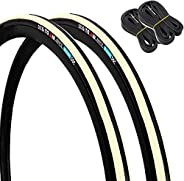 GORIX Road Bike Tire 700×23C or 700×25C (2 Tires+2 Tubes Set) Cycling Bicycle (Gtoair Edition)