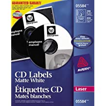 Avery CD Labels for Laser Printers, Matte White, Round, 200 Labels, Permanent (5584)
