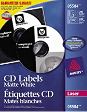 Avery CD Labels for Laser Printers, Matte White, Round, 200 Labels, Permanent (5584) Made in Canada for The Canadian Market
