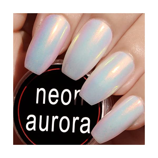 PrettyDiva Mermaid Chrome Nail Powder - Neon Iridescent Nail Powder Aurora Nail Pigment, Opal Unicorn Chrome Nail Powder Manicure Pigment #02 3