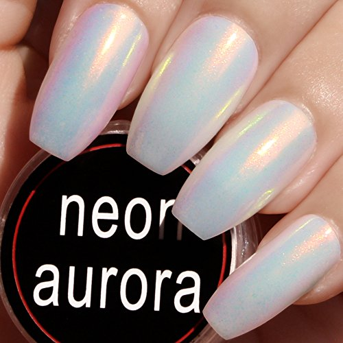 Nail Powder White Super (PrettyDiva Mermaid Chrome Nail Powder, Neon Iridescent Unicorn Coffin Nail Powder Manicure Pigment for Nail Art #02)