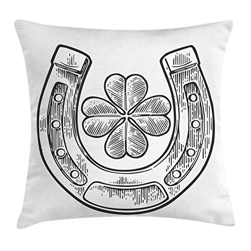 NBTJZT Clover Throw Pillow Cushion Cover, Good Luck Themed Illustration of Shamrock and Horseshoe Engraved Style,Pillowcase 18X18 Inch, Charcoal Grey and White