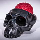 My Geek Things Handmade Novelty Crying Skull Candle Holder with a Brain Candle (Black/Red)