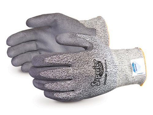 Superior S13SXGPU Superior Touch Dyneema Speckled String Knit Glove with Polyurethane Coated Palm, Work, Cut Resistant, 13 Gauge Thickness, Size 7, Gray (Pack of 1 Pair) (Gloves Coated Dyneema Palm)