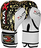 Pair of Leather Boxing Gloves black & Gold punchbag Martial arts 8oz - 16oz