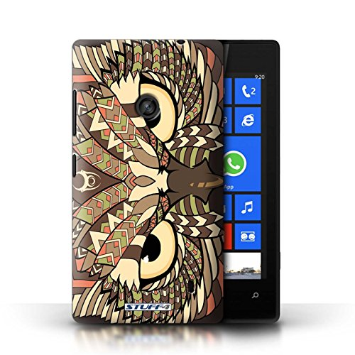 Etui / Coque pour Nokia Lumia 520 / Hibou-Sépia conception / Collection de Motif Animaux Aztec