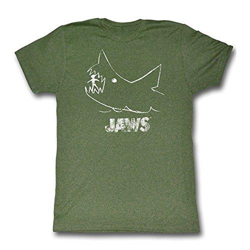 Jaws Chalkboard Forest Green Heather T-Shirt (M)