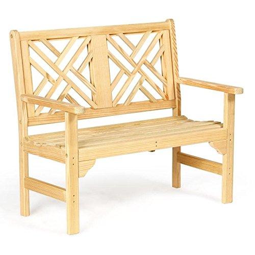 Chippendale Garden Bench - Leisure Lawns Amish Made Yellow Pine 4' Chippendale Garden Bench Model #941