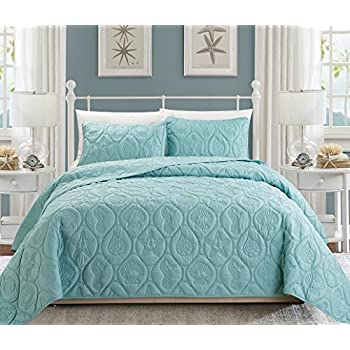 3piece tropical coast seashell beach king bedspread spa blue coverlet embossed bed cover set