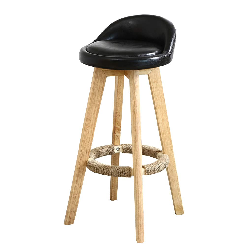 BLACK 73cm GY Solid Wood Bar Stool redate Breakfast Bar Chair, Low Back Leather High Stool, Home Kitchen 90-110cm Counter Bench Stool, 5 colors 63cm 73cm 83cm (color   Green, Size   83cm)