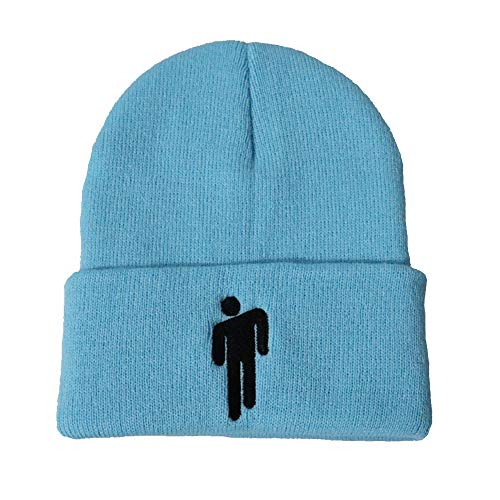 APaiCC Billie Eilish Hot Topic Embroidered Logo Beanie Knit Hat Stretchy Cap Outdoor for Men Women (Light Blue)