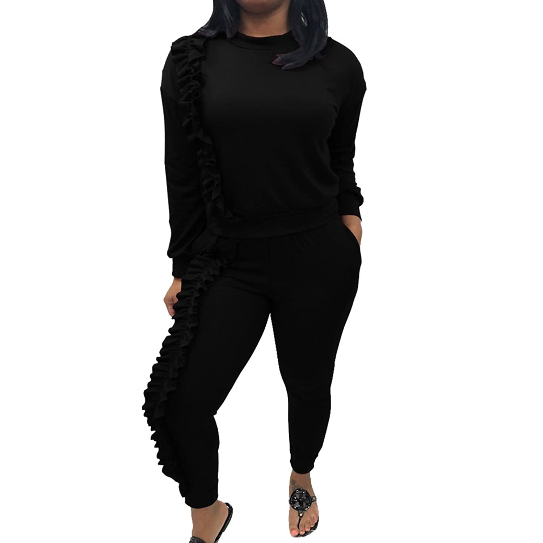 4e0c47ecf5d18a 50%OFF YiLianDa 2Pcs Damen Jogginganzug Langarm Anzug Pullover Sportanzug  Trainingsanzug Sweatshirt Anzug Mit Hose