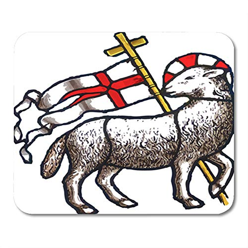 Semtomn Gaming Mouse Pad Christian Artistic Abstract Lamb of God Easter Jesus Flag Catholic Bible Christ 9.5