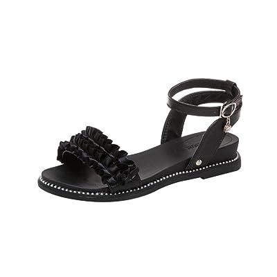 AMhomely Femme Fashion Boho Flower Round Toe Heel Sandals Slope Strap Buckle Summer Shoes