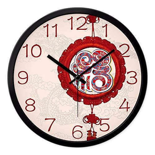Chinese Clock Wall Clock, Living Room, Modern, Simple, Quiet, Bedroom Clock, Quartz Clock Pendant Watch, Round,12 (Pendant Quartz Clock)