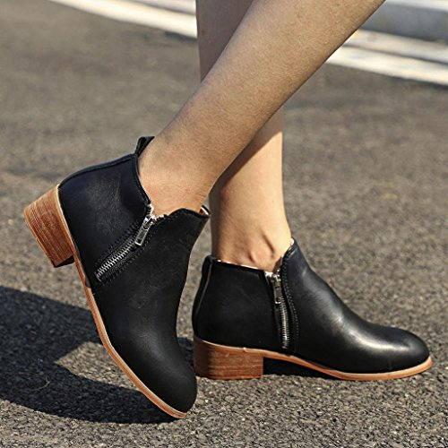 Knight Shoes Ankle Ladies 2018 High Booties Chunky Women Velvet Black Top Short Martin Leather Biker Loafers dIw0A0