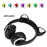 Glumes Foldable Bluetooth Cat Ear Headset with 7 Different Kinds of LED Light Headphones Earphone Valentine Gifts (Black)