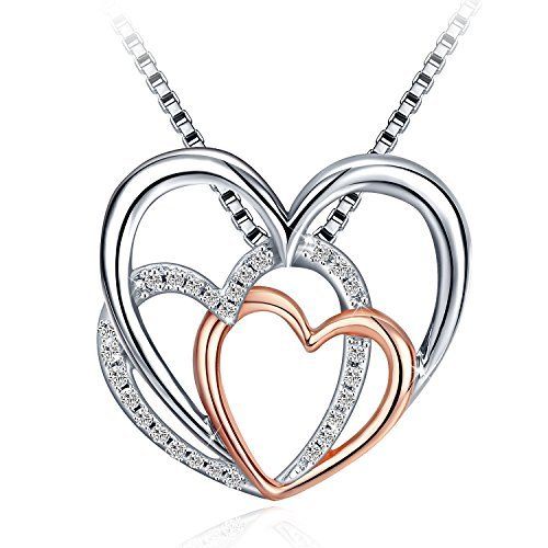 Fashion Jewelry Box Boxes - J.Rosée 925 Sterling Silver Triple Heart Fashion Drop Pendant Necklace with 18