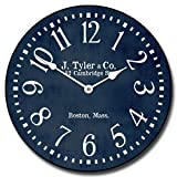 Navy Blue Wall Clock, Available in 8 Sizes, Most Sizes Ship The Next Business Day, Whisper Quiet.