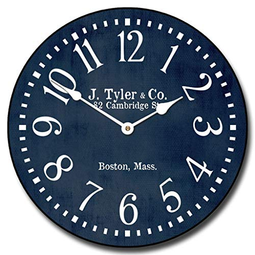 Navy Blue Wall Clock, Available in 8 Sizes, Most Sizes Ship The Next Business Day, Whisper Quiet. ()