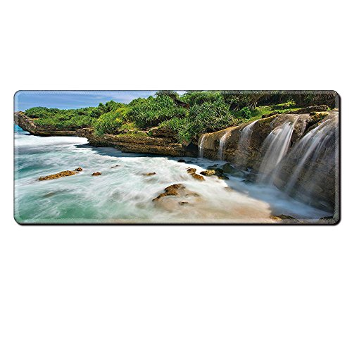 Mouse Pad Unique Custom Printed Mousepad Nature Jogan Beach Waterfall View In Java Indonesia Tropical Seashore Scenery Green White And Brown Stitched Edge Non Slip Rubber (Java Giraffe)