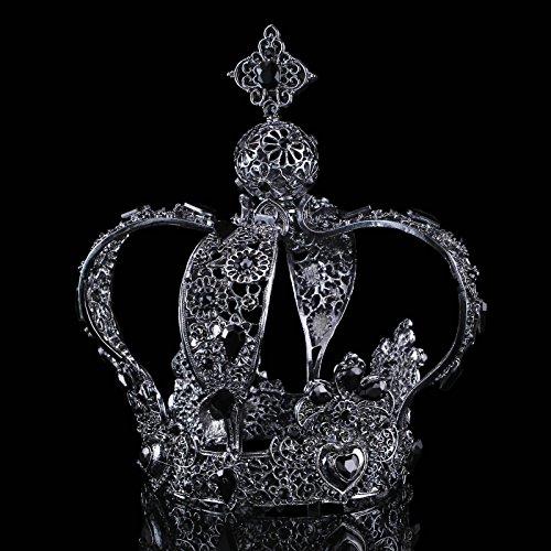 FUMUD Height 5.5 Luxury Vintage Gold Wedding Crown Alloy Bridal Tiara Baroque Queen King Crown (1#) (Black)