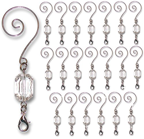 Decorative Ornament Hangers - Clear Acrylic Silver Wire Ornament Hooks - Pack of 20