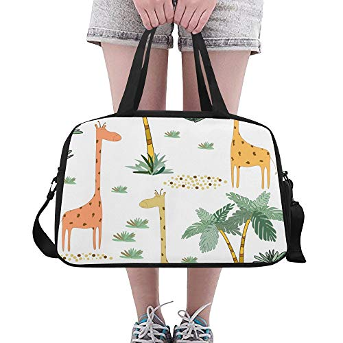 Handbags Giraffe Slender Neck Custom Gym Tote Casual Duffel Workout Bag For Girl Mens Outdoor Ballet Bicycle Gymsack With Shoe Pounch ()