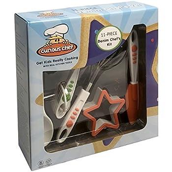 Curious Chef 11 Piece Denim Chef's Kit, Blue
