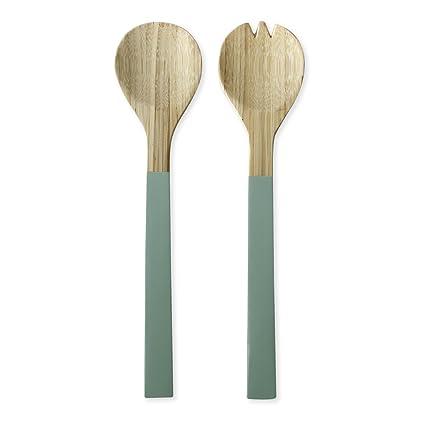 Cubiertos para ensalada (bambú verde 30 cm – Baya – Bruno Evrard