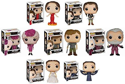 Hunger Games Funko Pops! Complete Set of 7 with Katniss (The Girl On Fire, Katniss Everdeen, The Mockingjay, Wedding Day Katniss), Effie Trinket, Peeta Mellark, President Snow