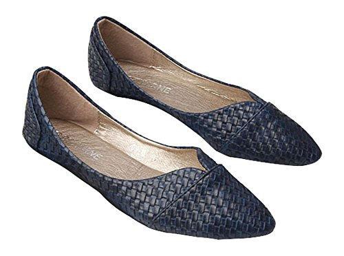 Shoes Plaid Leather (Plaid&Plain Women's Pointed Toe Slip On Low Cut Woven Leather Lofers Flats Boat Shoes Blue 37)