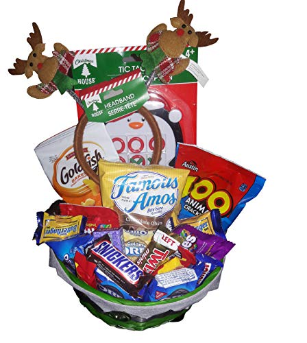 Holiday Candy Gift Basket for Boy or Girl | Filled With Candy, Chocolates, Games and Headband | Pre Wrapped with Bow. Great for Thanksgiving Christmas