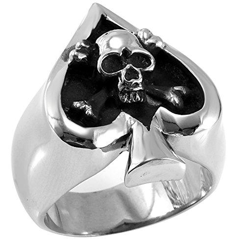 (Flongo Men's Gothic Stainless Steel Poker Spade Heart Skull Halloween Band Ring, Size 10)