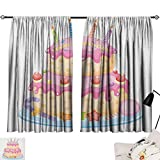 Beihai1Sun Kids Birthday Fashion Darkening Curtains Pastel Colored Birthday Party Cake with Candles and Candies Celebration Image Curtain Kitchen Pale Pink W108 x L72