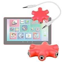 """Séparateur audio rouge pour Lexibook LEXITAB MFC146FR 7"""" et LEXITAB MFC511FR 10"""" tablette enfant - 5 entrées pour casques/écouteurs - DURAGADGET"""