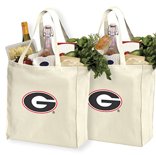 Reusable University of Georgia Shopping Bags or Georgia Bulldogs Grocery Bag 2Pc Set Natural -