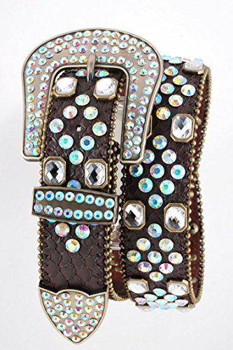 Chic Chelsea Mix Crystal Studded Fashion Western Belt (Brown) by Chic Chelsea
