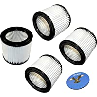HQRP 4-pack Cartridge Filter for Shop-Vac E87S450 E87S550A All Around Plus, QAL80 QAL80A Floor Master Wet/Dry Vacuum Coaster
