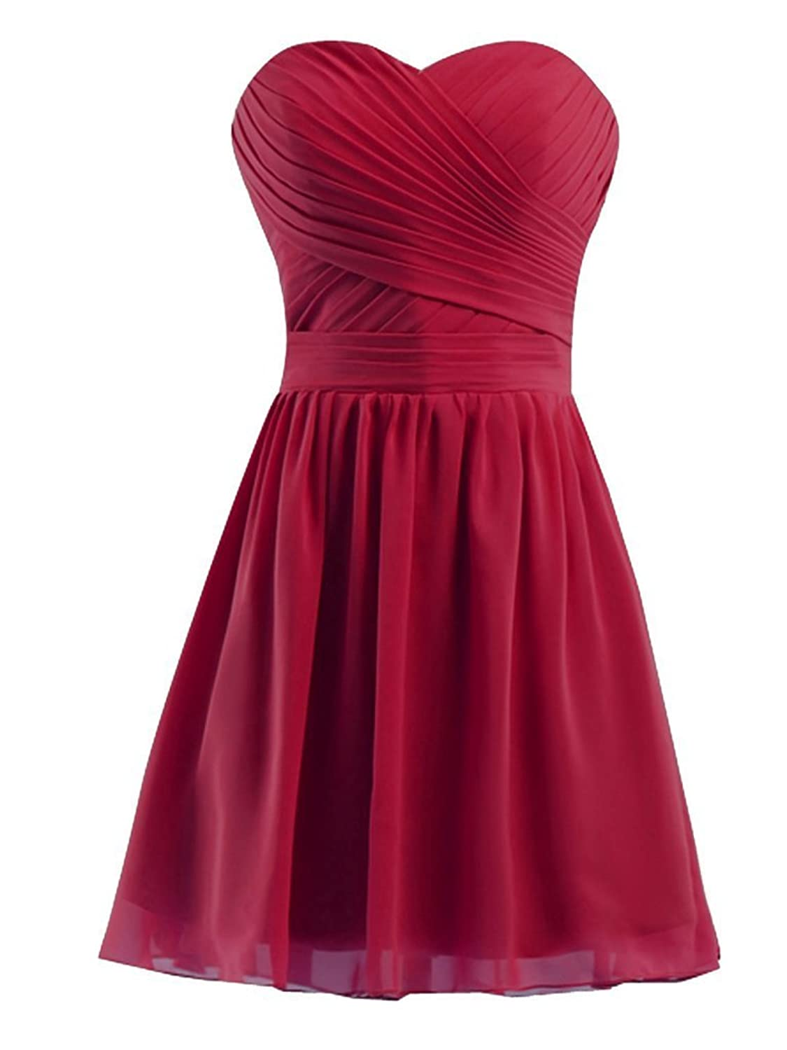 CARADRESS Short Sweetheart Knee Length Chiffon Homecoming Gowns Prom Dresses Burgundy