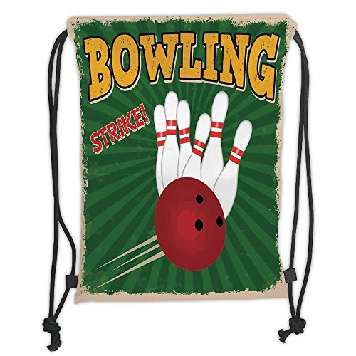 Custom Printed Drawstring Sack Backpacks Bags,Vintage Decor,Bowling Balls and Pins Design Western Sport Hobby Leisure Winner Artsy Art Print,Multi Soft Satin,5 Liter Capacity,Adjustable String (Vintage Bowling Bags)