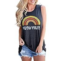 Umeko Womens Good Vibes Tank Tops Loose fit Graphic Tees Rainbow Crew Neck Sleeveless T Shirts