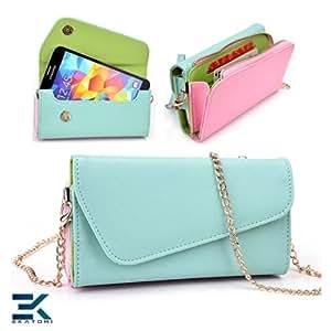 Samsung Galaxy Grand 2 Phone Wallet Wrist-let Shoulder Bag - BABY BLUE, PINK & GREEN. Bonus Ekatomi Screen Cleaner
