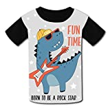 riverccc6.1500 Dinosaur Rock Star Fun Time Youth T-Shirt Boys Girls Tee